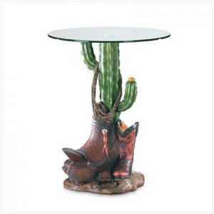 CACTUS SKULL/GLASS TABLETOP