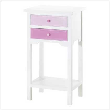 LAVENDAR WHITE TABLE/2 DRAWERS