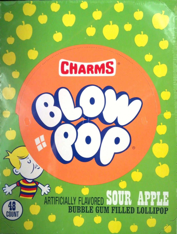 Charms Blow Pop Sour Apple Flavor 48 Count