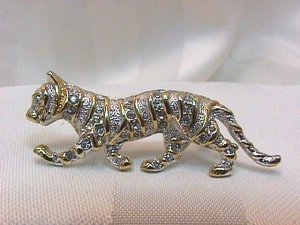*A Most Elegant Tiger Dressed in Rhinestones, Clever Pin/Brooch