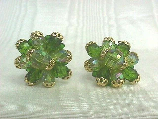 *Vintage Germany Light Green AB Crystal Bead Earrings, Gold Filigree Trim