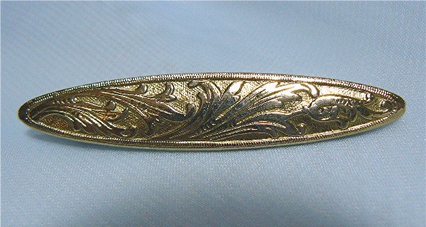 *Pretty Filigree Patterned Goldtoned Pin, Probably Vintage Replica