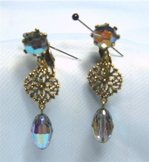 *Vintage Grey AB Crystal and Filigree Drop Earrings