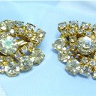 *Diamond-shaped Vintage Earrings; Large Clear  & AB Rhinestones, Goldtoned Mounting