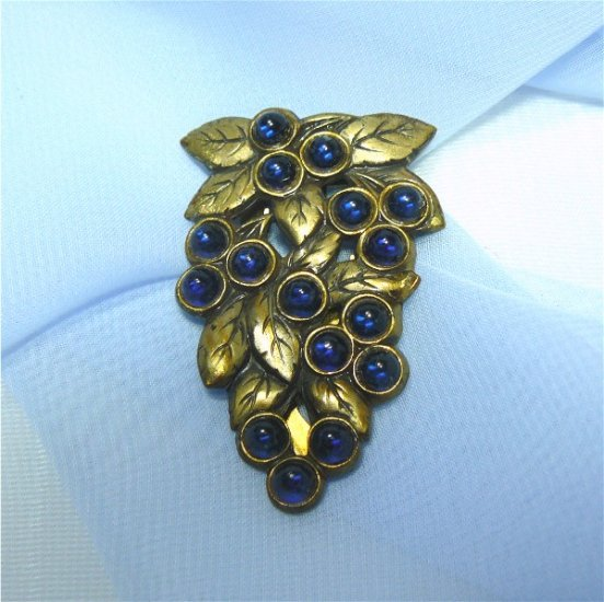 *Blue Glass Fruit? in 30's-40's Style Dress Clip in Interesting  Goldtoned Mounting