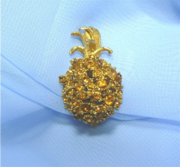Single Alice Caviness Pineapple Earring:  Topaz Rhinestones, Gold Plated Mounting
