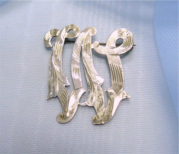 *Sterling Initial Pin; Beautifully Designed Vintage Taxco Piece, Eagle Mark 4