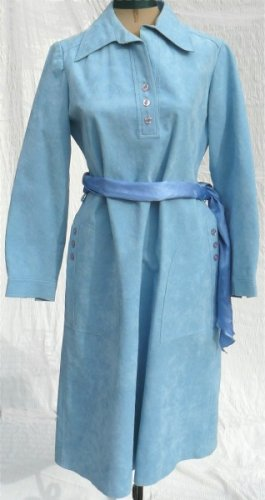 Classic Vintage Nat Kaplan:  Impeccable Styling in Soft Blue Ultrasuede Dress