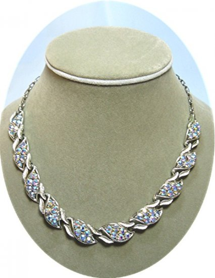 *Vintage Coro Silvertoned Necklace Sparked with Swirls of AB Rhinestones