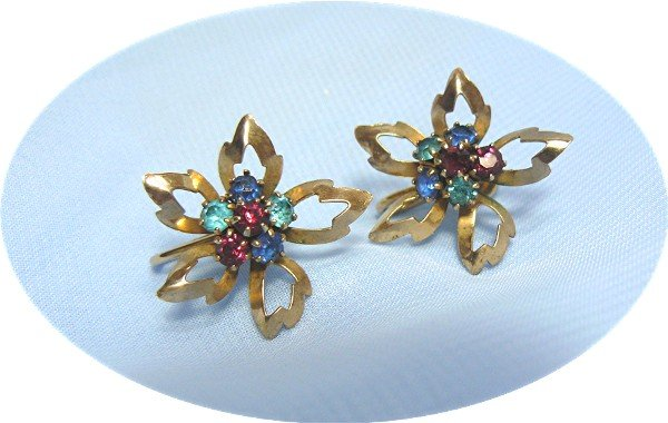 *Dainty Vintage Reis Screwback Earrings: Multicolored Rhinestones in 1/20 12K GF Flowers
