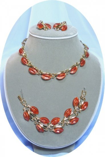 *Striking Sunset Copper Moonglow Lucite Thermoset Parure: Vintage Set, Necklace, Bracelet, Earrings