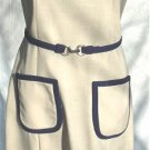 Custom Made Dress from Irene Herbert's Salon in Tulsa: Elegant Beige Linen with Navy Accents