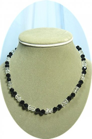 *Vintage Black and Clear Crystal Choker Necklace with Rhinestone Clasp