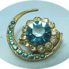 *Very Vintage Coro Brooch Pin:  Goldtoned Crescent and Flower in Turquoise/Clear Rhinestones