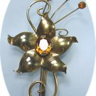 *Graceful Vintage Vermeil Flower Brooch with Topaz Rhinestone Accents
