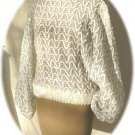 Vintage White Blouson Sequined Top:  Dolman Sleeves, Silver Seed Bead Design