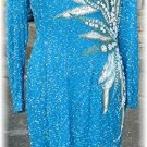 Striking Vint A. J. Bari Beaded/Sequined Dress, Aqua Silk Embroidered in Silver, White, & Turquoise