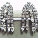 *Vintage Rhinestone Earrings in a Waterfall:  Clear Teardrop and Chaton Cuts to Move and Sparkle