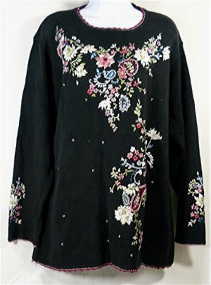Black Newport News Long Sweater:  Soft Floral Sprays in Muted Pastels, Sz L, Great Design