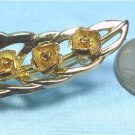 "*Sweet and Dainty Vintage Brooks Goldtoned Leaf Brooch with ""Gold Mesh"" Roses"