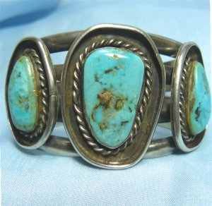 "*Turquoise and Sterling Silver ""Old Pawn"" Bracelet, Signed JT, Great Piece!"