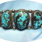 "*Graduated Turquoise Stones Mounted in Sterling Silver ""Old Pawn"" Bracelet"