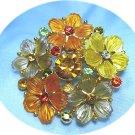 *5 Gleaming Flowers on Vintage Brooch/Pin: Warm Orange/Yellow/Taupe w/Sparkling Rhinestones