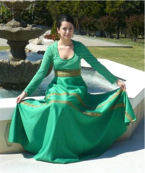 "Vintage Vivid Green Lillie Rubin ""Collection 700"" Dress:  Gold Ribbon Trim on Sweeping Skirt"