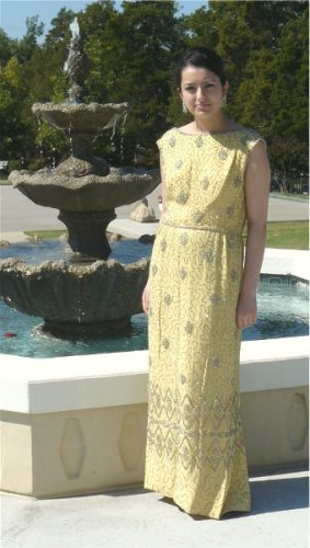 Vintage Malcolm Starr Formal Dress: Soft Yellow Heavily Encrusted Silver Beading, Stunning Gown
