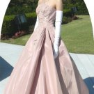 Pale Mauve 60's Beaded Ball Gown by Emma Domb: Vintage Formal, Sophisticated Elegance