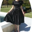 Timeless Vintage: Black Satin Dancing Dress with Stunning White Bows for Accents, Party Ready!