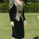 Shades of Dynasty!!  Black Velvet/Gold Brocade 2Pcs in Elegant Vintage Evening Suit: Cache, AJ Bari