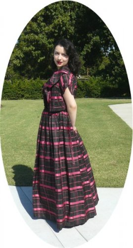 1940's Emma Domb Hot Pink/Black Taffeta Plaid 2Pc Evening Gown: Vintage Style, Classic Beauty