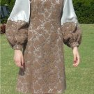 Stunning Travilla 60's Sz 8 Vintage Dress:  Silver Silk and Heavy Mocha Lace, Fabulous Sleeves