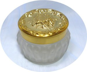 Estee Lauder Vintage Frosted Powder Jar, Gold Tone Cherub Top, Desirable Piece, EUC