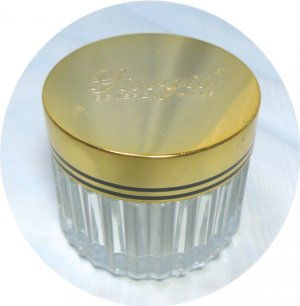 Vintage Giorgio Powder Jar: Gold Tone Lid with Black Side Striping, Clear Glass Base