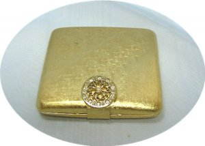 Vintage Brushed Gold Tone Avon Powder Compact w/Rhinestone Circle Clasp, Lovely Piece