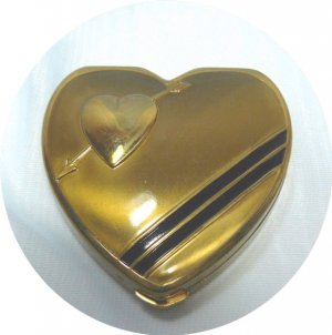 Vintage Heart-shaped Hingeco Gold Tone Compact: Black Enamel Trim, Unused