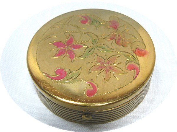 Vintage Round Gold Tone Compact with Dainty Flowers Etched on Top, Black Enamel Accents