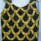 Vintage Black Sequined Scoop Necked Top with Striking Gold Sequin Design, Small/Med