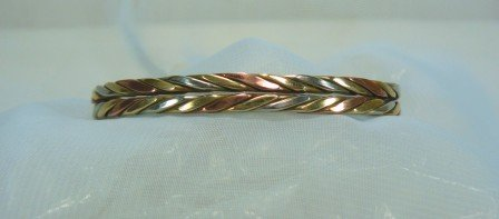 "*Tri-Color Copper, Brass, G. Silver Bracelet by Sergio Lub w/Magnets,  ""Autumn Wheat"", Almost New"