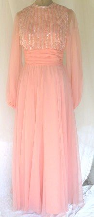 Scrumptuous Vintage Jack Bryan Coral Chiffon Long Dress w/Silver & Crystal Sequins/Beading