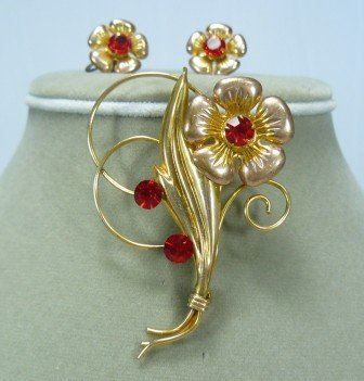*Antique I. Michelson Vermeil Flower Brooch/Earrings w/Rhinestones, Dainty and Sweet