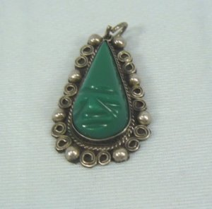 Vintage Sterling Silver Pendant:  Unidentified Mark, Bezel Set Face/Mask Done in Mexican Onyx/Jade