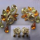 Swirling Vintage Coro Design Goldtoned Earrings: Lemon & Topaz Rhinestones that Sparkle and Dangle