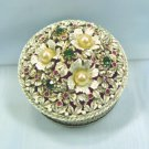 Vintage Florenza Round Ring/Trinket Box:  White w/Brushed Gold Accents, Rhinestones/Pearls
