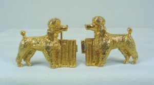 Cute Goldtone Poodles Belt Buckles, Mimi di N, Estate Set