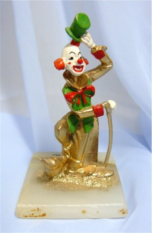 High-stepping Vintage Clown Figurine by JuDi, 24K Gold Embellished, Marble Base
