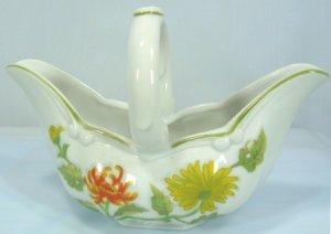 Graceful CC Jor Small Porcelain Basket, Chrysanthemum, Seymour Mann