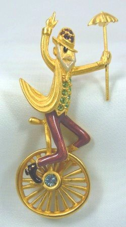 Daredeveil Unicyclist (Clown Perhaps?) Wheels By on Goldotned Bob Mackie Pin w/RS